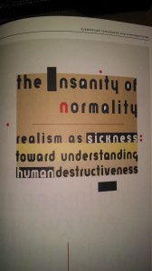 The Insanity of Normality, Book Cover Carin Goldberg, 1992